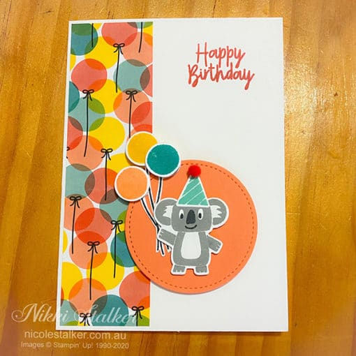 Birthday card with Koala holding balloons